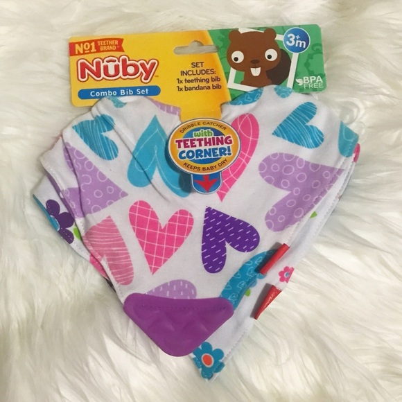 NUBY BANDANA BIB WITH TEETHER COTTON BPA FREE